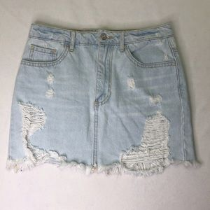 Forever21 Distressed White Washed Skirt Mini